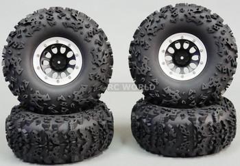 For Traxxas TRX-4 Rock CRAWLER Beadlock Wheels & TIres 140mm Set Of 4 SILVER