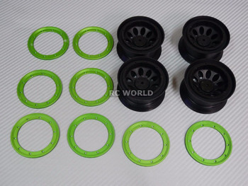 For Traxxas TRX-4 Rock CRAWLER Beadlock Wheels & TIres 140mm -Set Of 4- GREEN