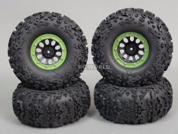 "For Axial 2.2 Rock CRAWLER Beadlock Wheels & TIres 140mm 5.5"" -Set Of 4- GREEN"