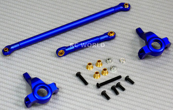 For Axial SCX10 Jeep Honcho UpGrad Front METAL KNUCKLES + STEERING LINK - BLUE