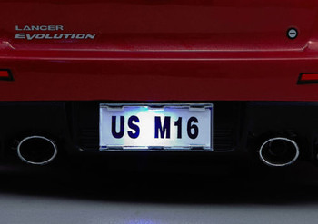 1/10 RC Car Scale LICENSE PLATE TAG PLATE For Body Shell CHROME W/ LEDS Lights