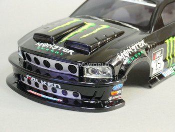 1/10 RC Car BODY Shell FORD MUSTANG Monster Energy 190mm *FINISHED*