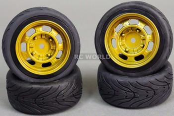 1/10 RC Car Wheels Street Treads 3MM Offset VINTAGE GOLD (4pcs)