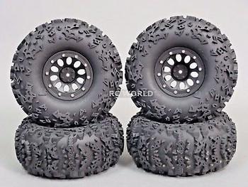 RC Truck Wheels 2.2 W/ 140MM Tires Black.