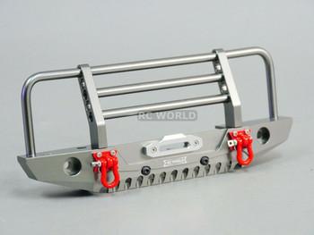 Traxxas TRX-4 DEFENDER METAL Front Bumper GUARD Gun Metal + LED