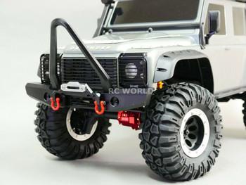 Traxxas TRX-4 DEFENDER FRONT METAL Bumper BULL NOSE V2 BLACK + LED