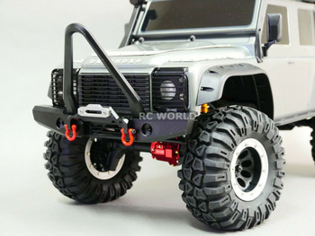 Traxxas TRX-4 DEFENDER FRONT METAL Bumper BULL NOSE V2 BLACK + LED