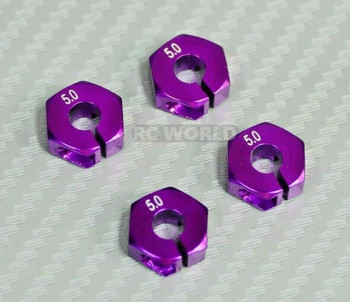 1/10 Anodized Aluminum 5MM WHEEL Spacer 12MM HUB -4 pcs- Purple