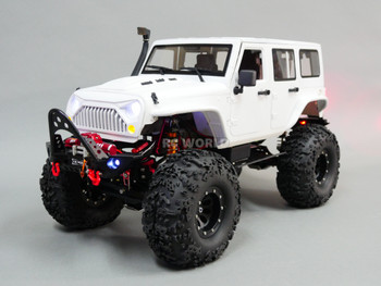 Custom Built 1/10 RC Jeep Wrangler Rubicon V8 Rock Crawler 8.4V *RTR* White