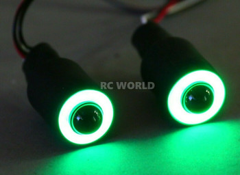 LED Lights GREEN Halo Angel Eyes Large 17mm Headlights White Center