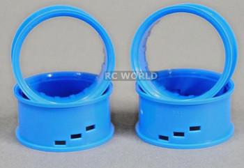 Tetsujin RC Car Wheels Lip Adjustable Offset 3/6/9mm -Blue Lip- 4 pcs