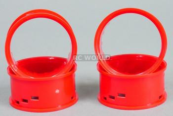 Tetsujin RC Car Wheels Lip Adjustable Offset 3/6/9mm -Red Lip- 4 pcs