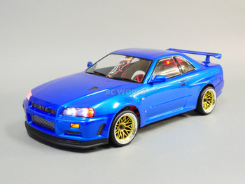 Custom RC 1/10 Drift NISSAN SKYLINE R34 AWD Belt CAR Blue RTR