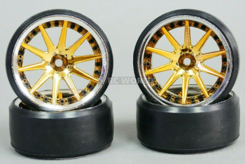 Fly Wheels 1/10 Large 2.2 Drift Wheel Set Stagger 6mm + 9mm Chrome + Gold