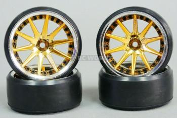 Fly Wheels 1/10 Large 2.2 Drift Wheel Set Stagger 6mm + 9mm Chrome + Gold