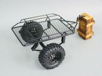 1/10 METAL SINGLE AXLE TRAILER W/ Leaf Suspension Black