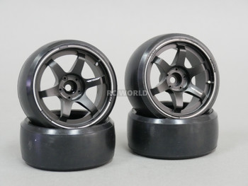 Fly Wheels 1/10 Large 2.2 DRIFT WHEEL Set BLACK Aluminum 6mm