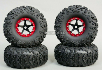 1/10 Truck Wheels 2.2 Aluminum RIMS Beadlock W/ 140mm TIRES Black/Red
