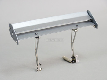 Rear Mounted 1/10 Metal Double Spoiler Wing 165mm Silver