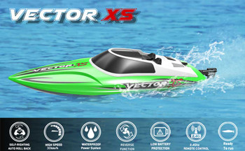 Vector XS RC RACE BOAT 2.4ghz Water Proof RC BOAT 20 MPH -RTR Green