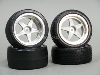 RC Car 1/10 RIMS WHEELS Package Kawada 5 STAR Plated STAGGER W/ Tires