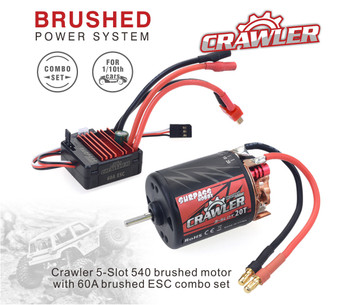 1/10 RC  540 Motor + ESC Package Waterproof 60A For Trucks 20T 5 Pole