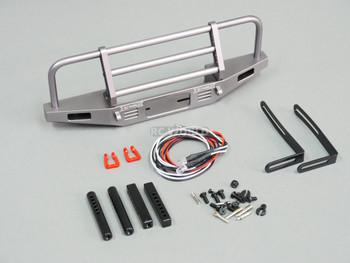 Traxxas TRX-4 DEFENDER V2 METAL Front Bumper +LED Gun Metal
