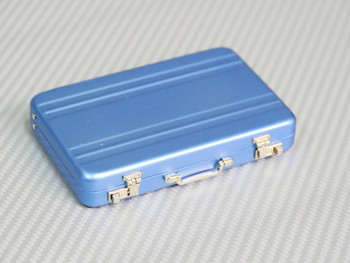 1/6 Scale Metal Briefcase Suitcase w/ Metal Parts + Interior BLUE