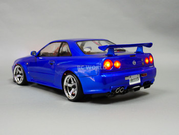 Custom RC 1/10 Drift NISSAN SKYLINE R34 AWD Belt CAR Blue RTR -S