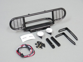 For RC4WD Gelande DEFENDER Front Metal SAFARI Bumper Black + IPF LED