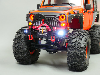 Red halo headlights RC Jeep Wrangler Crawler