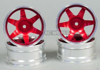 1/10 Metal DRIFT Rims 6 Spoke 3mm Offset Red (4pcs)