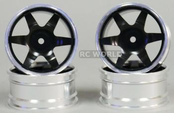 1/10 Metal DRIFT Rims 6 Spoke 3mm Offset Black (4pcs)