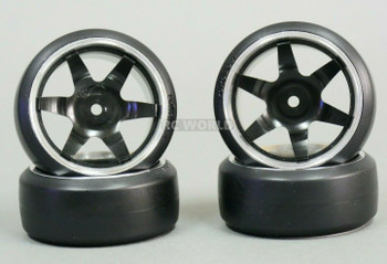 1/10 Metal DRIFT Rims 6 STAR Wheels w/ Yokomo Drift Tires Assembled (4PCS) BLACK