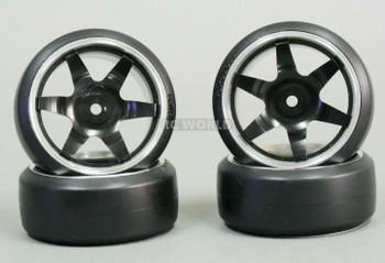 1/10 Metal DRIFT Rims 6 STAR Wheels w/ Yokomo Drift Tires Assembled (4PCS) BLACK