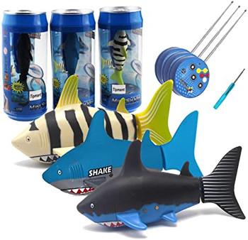 RC Micro SHARK Robo Fish MINI SHARK Aquarium Toy -STRIPE - Soda Can