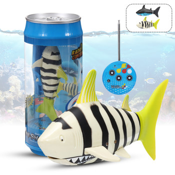 RC Micro SHARK Robo Fish MINI SHARK Aquarium Toy -STRIPE - Soda Can