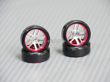 1/28 Mini Z Aluminum Drift Rim Set RED