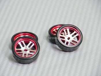 1/28 Mini Z Aluminum Drift Rim Set Front + Rear 20x8mm w/ Drift Tires -RED -
