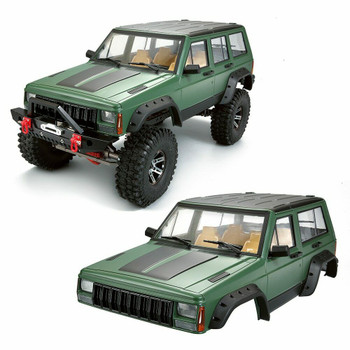 1/10 JEEP CHEROKEE Scale Truck Hard Body w/ Interior 313mm GREEN