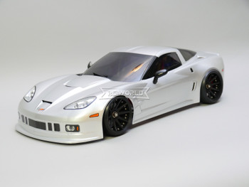 1/10 RC Body Shell CHEVY CORVETTE  w/ Light Buckets SILVER -Finished-