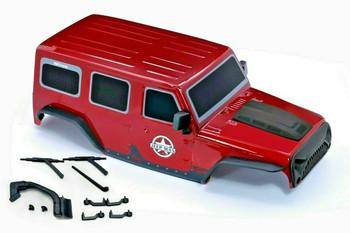 1/10 Jeep Wrangler Body Shell 4 Door Hard Top 313mm RED