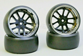 Fly Wheels 1/10 Large 2.2 WHEELS Set Deep Dish Black -DRIFT-