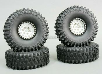 1/10 Metal 1.9 Truck Beadlock Rims + 120mm TIRES V2 Silver + Black Rings