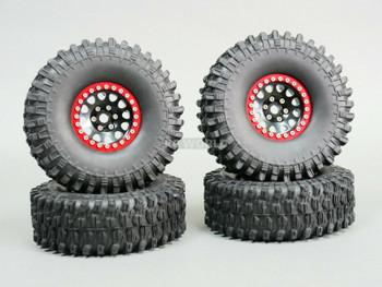 1/10 Metal 1.9 Truck Beadlock Rims + 120mm TIRES V2 Black + Red Rings