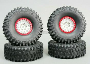 1/10 Metal 1.9 Truck Beadlock Rims + 120mm TIRES V2 Silver + Red Rings