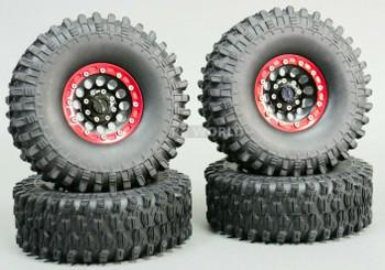 1/10 Metal 1.9 Truck Beadlock Rims + 120mm TIRES V1 Black + Red Rings