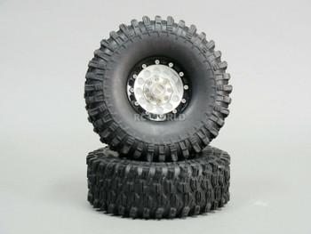 1/10 Metal 1.9 Truck Beadlock Rims + 120mm TIRES  V1 Silver + Black Rings