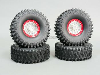 1/10 Metal 1.9 Truck Beadlock Rims + 120mm TIRES  V1 Silver + Red Rings