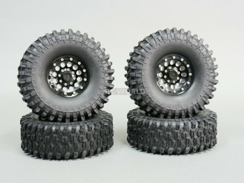 1/10 Metal 1.9 Truck Beadlock Rims + 120mm TIRES V1 Black + Black Rings